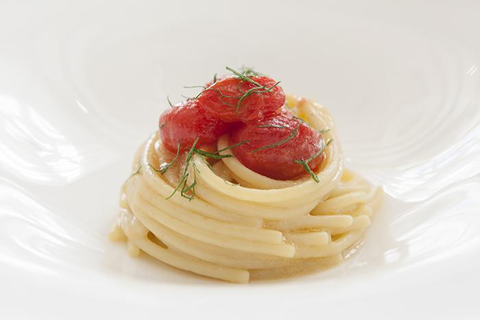 Ristorante Vespasia - Spaghetto al pomodoro trasparente norcia palazzo seneca