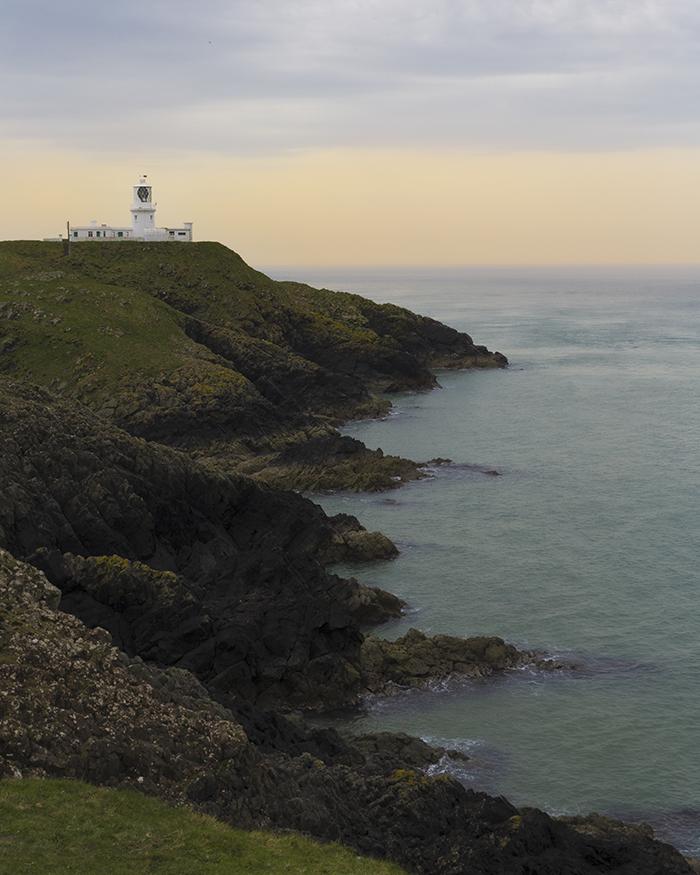 Strumble head lighthouse al tramonto, galles