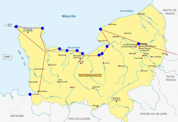 Mappa Normandia road trip