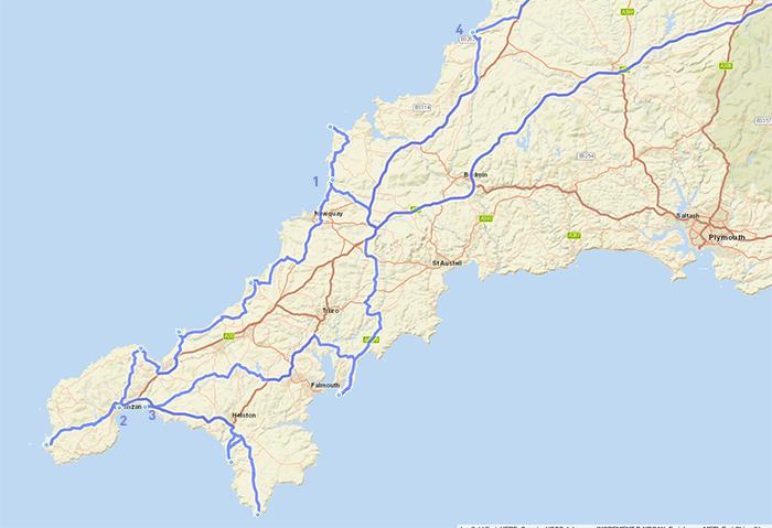 Mappa Road Trip Cornovaglia
